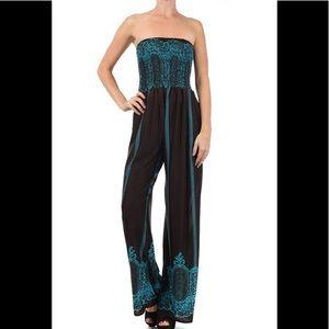 Black Teal strapless one piece jumpsuit boho hippy